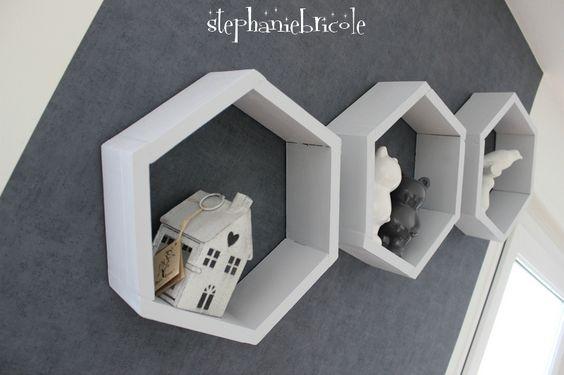 DIY DECO Bois Des étagères hexagonales …