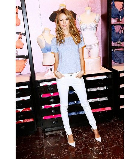 @Who What Wear - Behati Prinsloo                 T-Shirt + White Pointy-Toe Heels    Get the look:BLK Denim T-Shirt 38 ($75) in Grey;Shoe Cult Cordoba Pumps ($68) in White