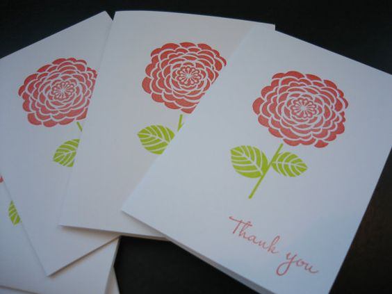 Thank You Notes Set 5 Cards Thank You Card Set by apaperaffaire, $5.75