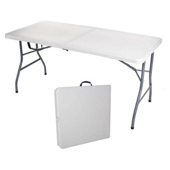 Sudden Solution Rectangle Fold In Half Utility Table 5 Feet Cream Blow Mold Amp Mocha Frame Folding Table Fold In Half Table Half Table