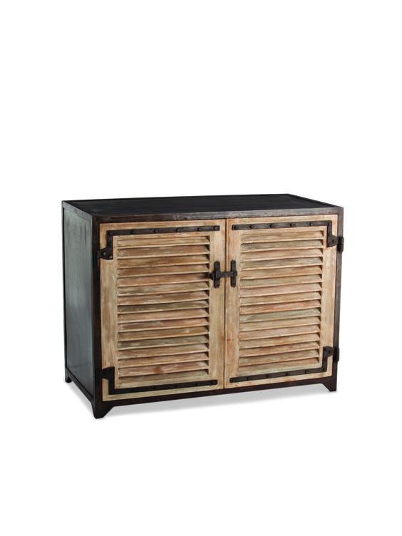 Paris Iron and Wood Shutter Cabinet - Gilt Home