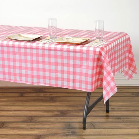 Buffalo Plaid Tablecloth 54 X 72 Rectangular White Pink
