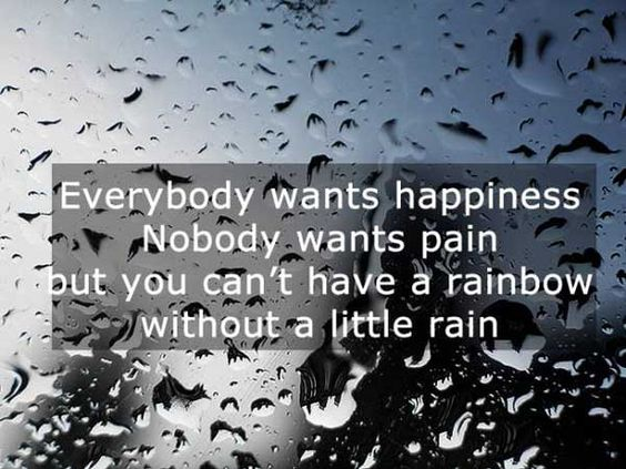 Everybody wants happiness nobody wants pain but you can't have a rainbow without a little rain.: