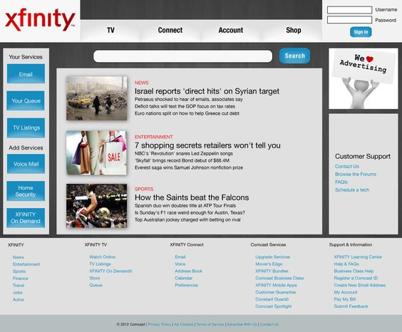 Home page to... Xfinity