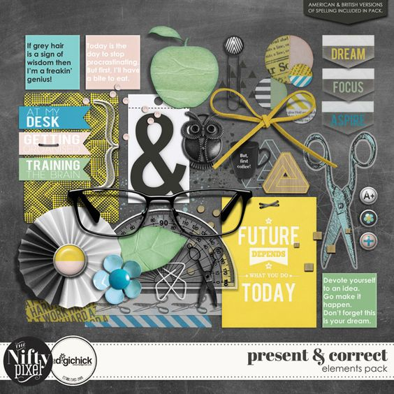 PRESENT & CORRECT | Elements Pack This is a fun elements pack all about thos eof us that are either starting back at school or endeavouring to study as an adult. Perfect for the procrastinator in all of us!