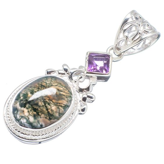 "Green Moss Agate, Amethyst 925 Sterling Silver Pendant 2"" PD510074"