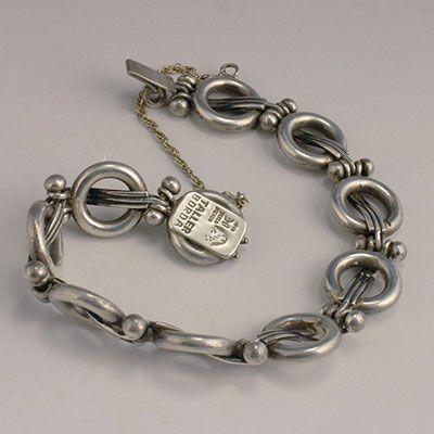 Hector Aguilar sterling silver Lyre links bracelet