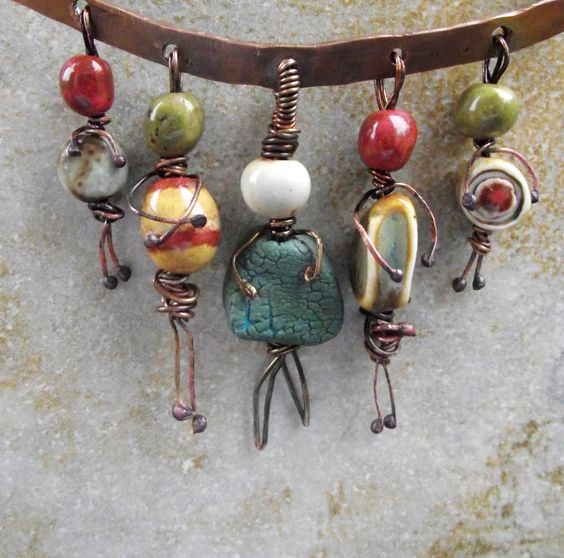 Tiny people pendants. Inspiration for worry dolls made from beads and wire.: