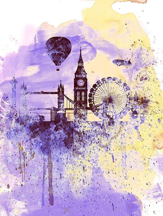 London Watercolor Skyline: