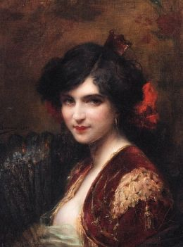 Adrien Henri Tanoux (French, 1865-1923)  – Portrait of a Spanish Lady