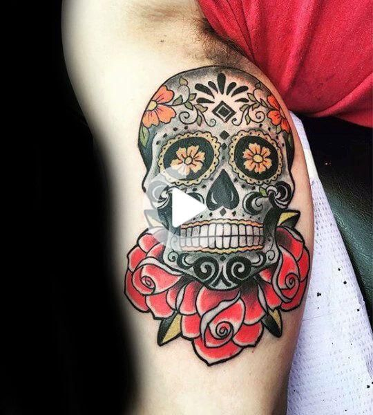 The 110 Best Skull Tattoos For Men In 2020 Sugar Skull Tattoos Skull Tattoo Design Candy Skull Tattoo