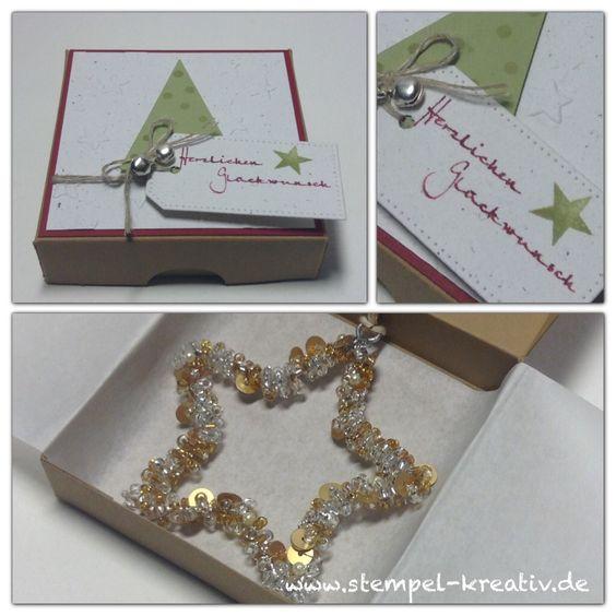 weihnachtliche Geschenkverpackung mit Perlenstern