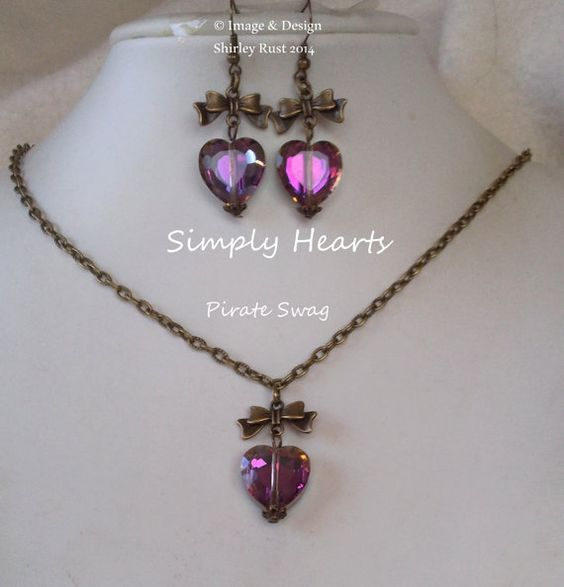 Simply Heart necklace & earring set. by PirateSwag on Etsy, £6.00
