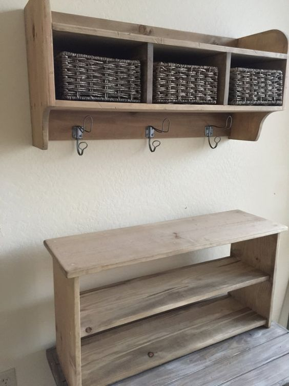 Rustic Hall Tree Primitive Bench And Coat Rack Entry Way Bench Cubby Storage Shelf Storage