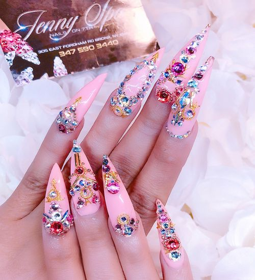 Cardi B Pink Jewels Nail Art Stones Studs Nails Steal Her