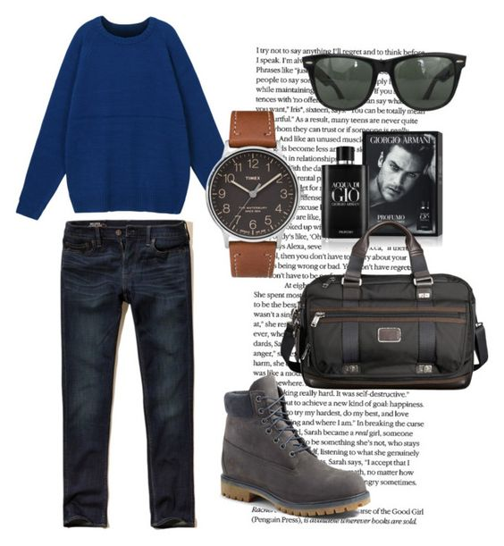 """""""Le"""" by thequeenofoctober on Polyvore featuring Timberland, Hollister Co., Ray-Ban, Giorgio Armani, Tumi, Timex, men's fashion and menswear"""