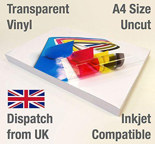 15 Sheets A4 Clear Transparent Vinyl Glossy Self Adhesive Https Www Amazon Co Uk Dp B01mtlc3qe Re Inkjet Vinyl Transparent Adhesive Make Your Own Stickers