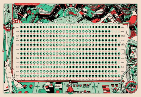 Calendar by lunar phase.  By Tyler Stout