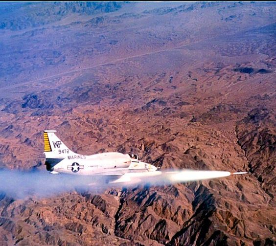 A VMA-223 Attack Squadron A-4M Skyhawk firing Zuni rockets. Circa 1970s.