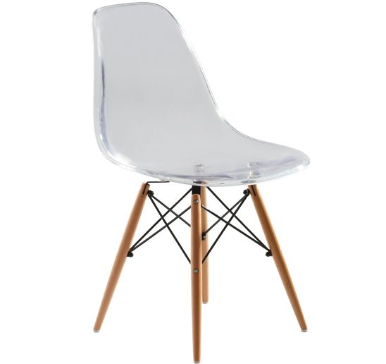 Replica Charles Eames Dsw Dining Chair Transparent Black Steel