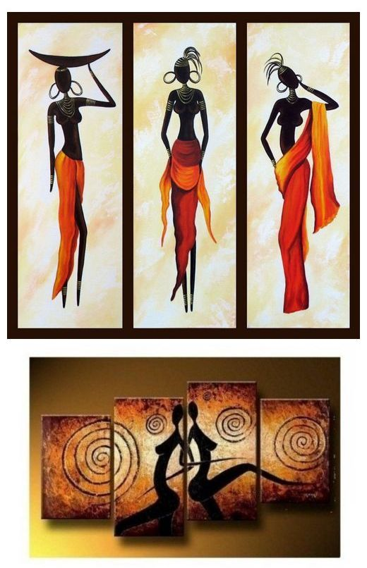 African Woman Painting African Girl Art Abstract Figure Art Dining Room Abstract Painting Abstract Figure Art African Paintings 3 Piece Canvas Art
