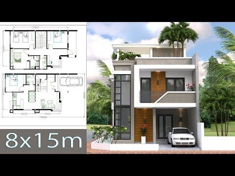 Small Home Design Plan 6x11m With 3 Bedrooms This Villa Is Modeling By Sam Architect With Two Story House Design Architectural House Plans Narrow House Plans
