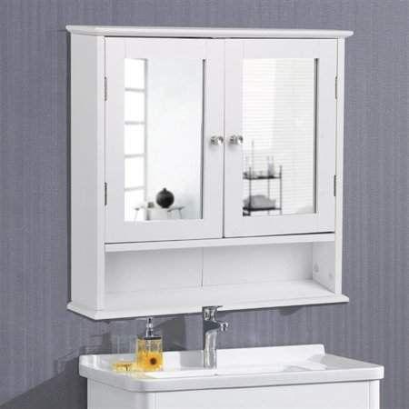 Topeakmart Wooden Wall Mount Bathroom Wall Cabinet With Double Mirror Doors Adjustable Shelf White Walmart Com Wall Mounted Medicine Cabinet Bathroom Wall Cabinets Wooden Storage Cabinet