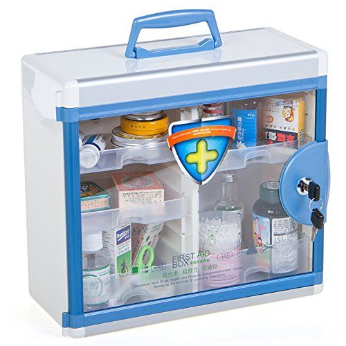 Glosen First Aid Box Lockable Medicine Box With Wall Mounted Function 13 6 6 5 12 4 Inch Blue Tango Furniture Medicine Boxes Large Storage Containers Storage Bin