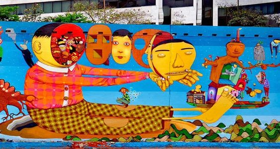 Mural Av. 23 de Maio junto com grafiteiros Nunca, Nina Pandolfo, Finok e Zefix