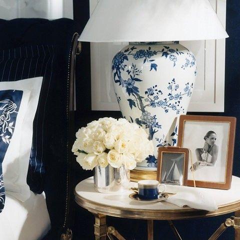 bedside table, blue & white
