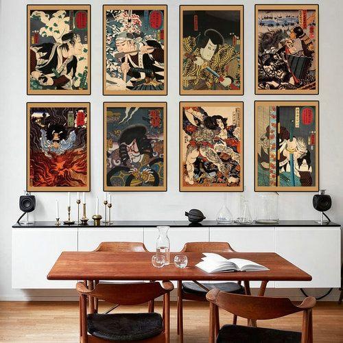 Hight Quality Japan Portrait Canvas Painting Japanese Samurai Asian Warriors Art Wall Art Home Decoration N Asian Home Decor Japanese Decor Japanese Home Decor