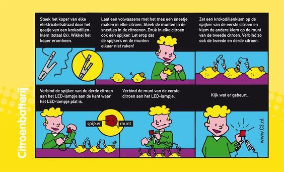 Een citroenbatterij maken, leerlingen leren hun eigen batterij maken. Ze leren hierbij ook hoe een stroomkring is opgesteld.