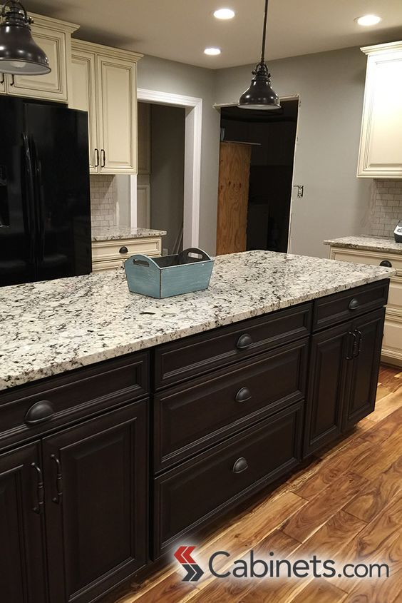 A bold dark stained island cabinet island cabinets are springfield maple charcoal vintage and - Antique white cabinets with black glaze ...
