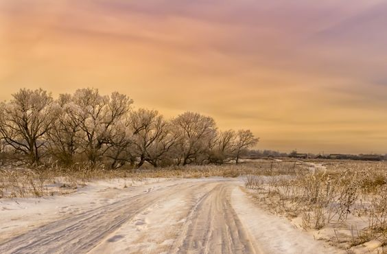 Winter road to sunset by Natalia Flora on 500px