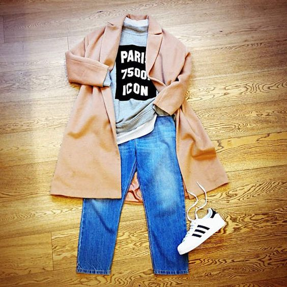 Look décontracté avec un sweat gris à message Paris et des baskets Adidas Le compte Instagram de la marque anglaise Asos est souvent source d'inspiration en matière de tenues. Le dernier en date : ce look décontracté pour le travail, composé autour d'un...