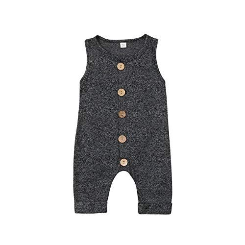 Seyurigaoka One Piece Outfits Baby Grey Striped Rompers with Button Kids Sleeveless Playsuit Jumpsuits Pants Cotton Clothing