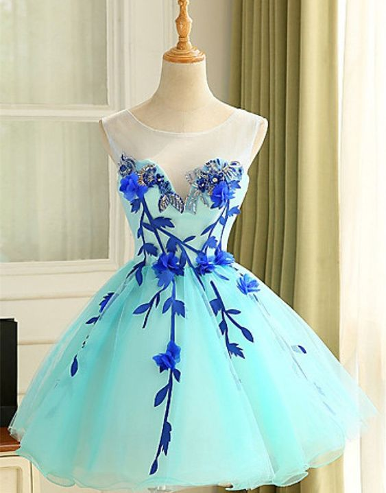 Mint Homecoming Dresses,Ball Gown Sleeveless Homecoming Gowns,Scoop Short…