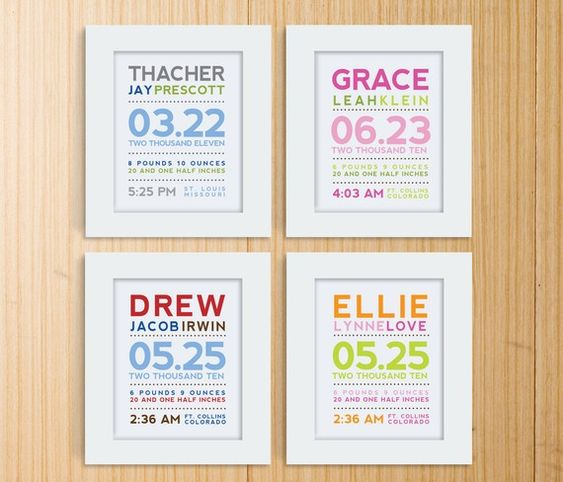 Framed baby announcement information for the babies room! I will be making one of these for sure, but plan to add information about what was going on in the world when she was born, and the average cost of gas, milk etc, top movies and songs,  for her to look back on when she is older