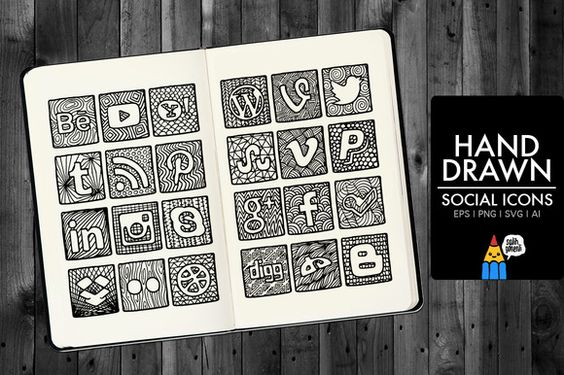 Check out Hand Drawn Social Icons by Salih Gonenli on Creative Market
