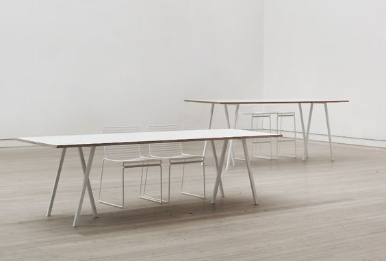 HAY Table // Loop Stand Table, White frame/White laminate L:160 cm ...