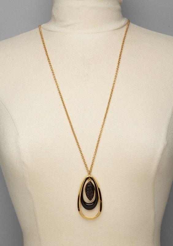 KARA ROSS- Resin Marquis Drusy Drop Necklace  $89.99