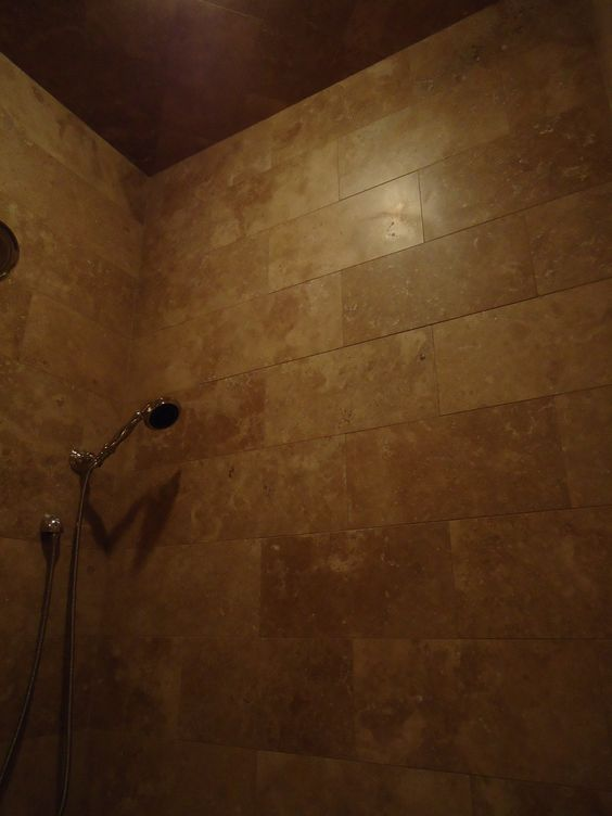 cutting bathroom tile this shower has a travertine tile cut to 8 quot x16 quot and 12613 | e2e3021ffefe42e430a244e5255b10ce