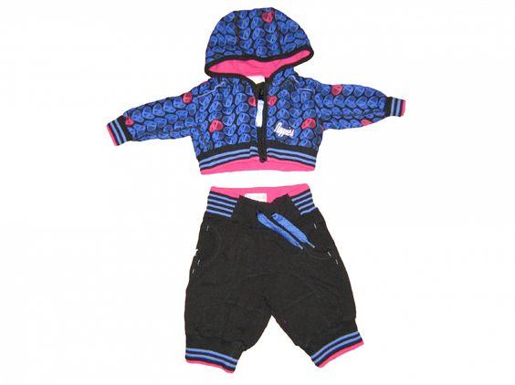 Maat 62 Pak Vest met capuchon en broek Zwart met blauw/roze print  Merk Noppies
