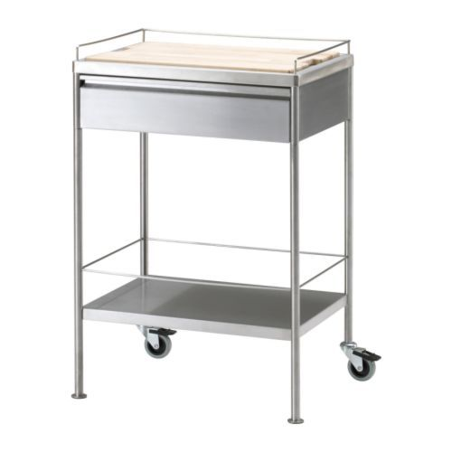 FLYTTA Kitchen Cart, Stainless Steel | Rolling Kitchen Cart, Kitchen Carts  And Wood Cutting Boards