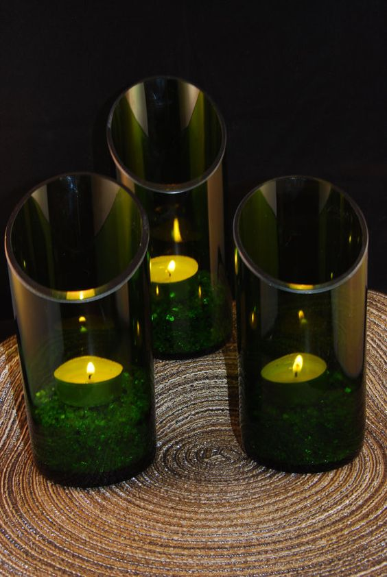 Wine bottle candle holders by myglassworks on etsy for Wine bottle candle holder craft