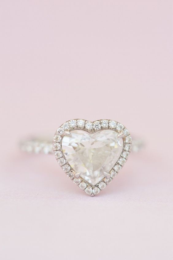 This heart shaped engagement really just melts my heart! Click to see more gorgeous details from this wedding. photo: Brklyn View Photography;