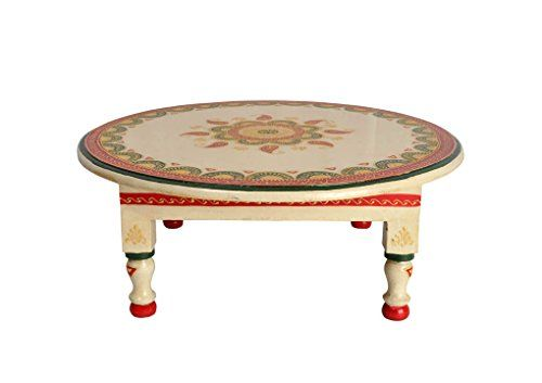Lalhaveli White Decorative Hand Painted Round Wooden Small