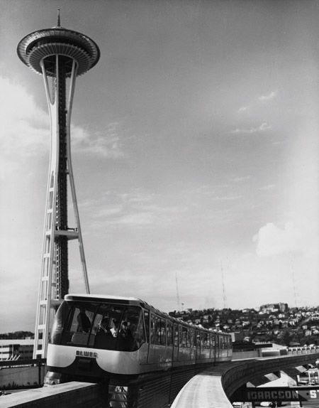 Monorail & Space Needle in 1962, image: UW Special Collections