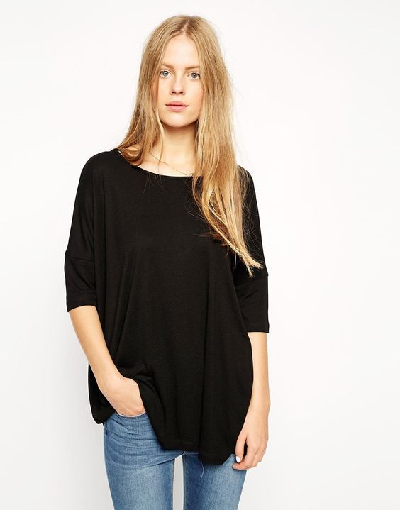 ASOS Oversized Square Tee in Baby Rib