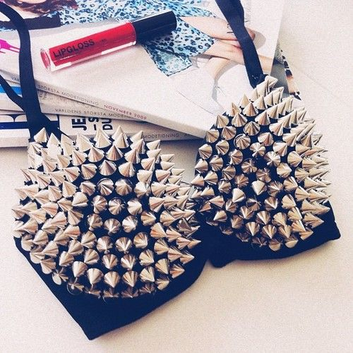 Studded/Spiked bra: Spiked Bras, Spikes And Studs, De Spikes, Beautiful Bra, Spikes Studs, Studded Spiked, Funky Spiked, Spiked Bralette